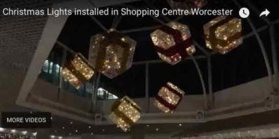 Christmas lights at shopping centre lights hanging from frame - installed by MVB Electrical