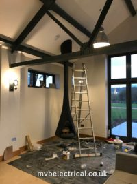 Flue suspended from the ceiling and hanging fireplace in position