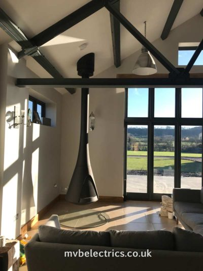 Metal fireplace hanging from ceiling - Hanging fireplace bespoke electrics by MVB Electrics