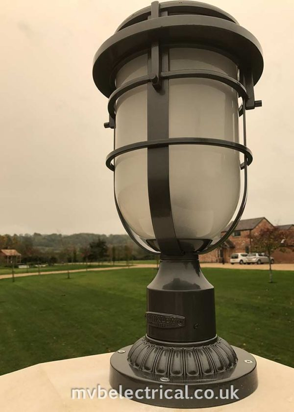 Outdoor light on entrance post