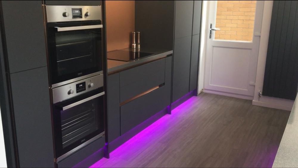 LED strip lights in Swindon kitchen